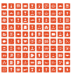 100 business career icons set grunge orange vector