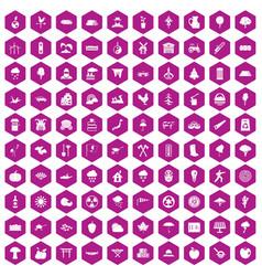 100 tree icons hexagon violet vector