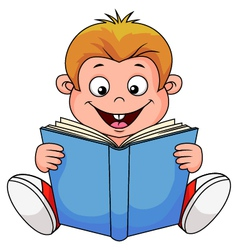 A cartoon boy reading a book vector image