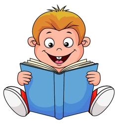 A cartoon boy reading a book vector