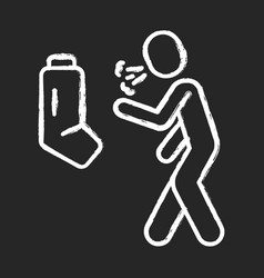 Allergic asthma anaphylaxis chalk icon vector