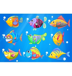 An ocean with nine colorful fishes vector