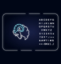 Aries zodiac sign neon light icon vector