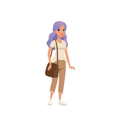 Beautiful young woman with long purple dyed hair vector