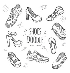 Boots doodle collection vector