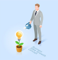business man with pot watering light bulb tree vector image