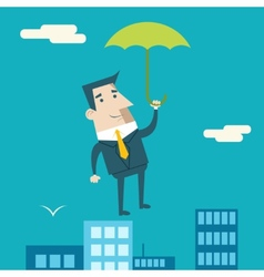 Businessman Cartoon Character with Umbrella vector image