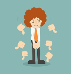 Businessman unlike thumbs down vector