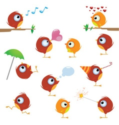 Cartoon canaries bird set vector
