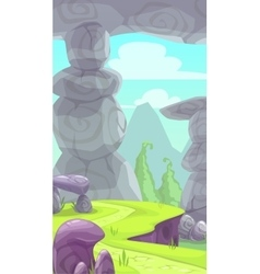 Cartoon rocky prehistoric landscape vector image
