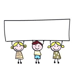 Children holding banner vector