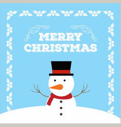christmas card with frame and snow man vector image