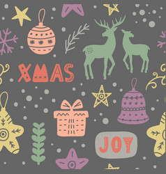 christmas decoration doodles seamless pattern vector image