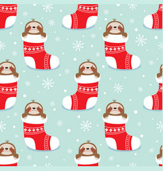 christmas pattern with sloth vector image