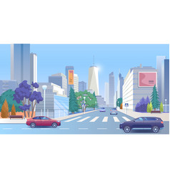 City street downtown cartoon vector