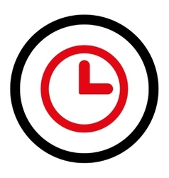 Clock flat intensive red and black colors rounded vector