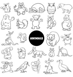 comic animal characters large set color book page vector image