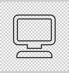 computer in line style monitor flat icon vector image