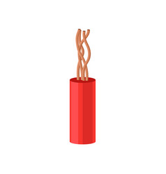Copper electrical cable in red insulation vector