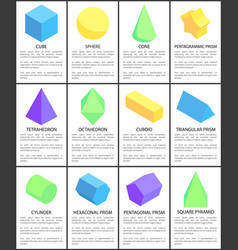 cube sphere cone octahedron cylinder figures set vector image