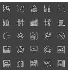 Data analysis white icons set vector image