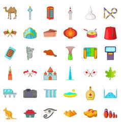 Different landmark icons set catoon style vector