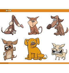 Dog cartoon characters set vector