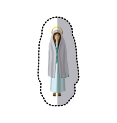 Dotted sticker of saint virgin mary shading vector