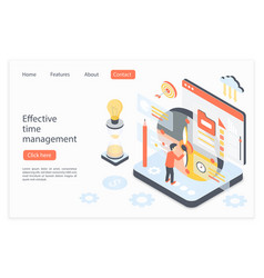 effective time management landing page isometric vector image