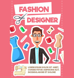 fashion designer tailor or dressmaker profession vector image