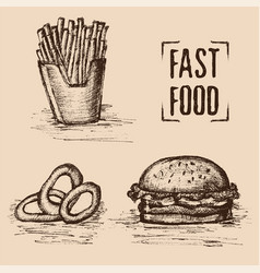 fast food hand drawn style set of unhealthy food vector image