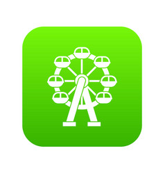 Ferris wheel icon digital green vector