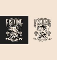 Fishing vintage monochrome print vector