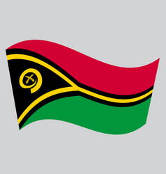 flag of vanuatu waving on gray background vector image vector image