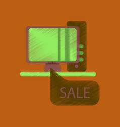 Flat shading style icon computer sale online vector