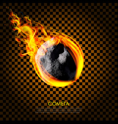 Flying asteroid comet on fire isolated background vector