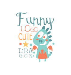 Funny cute dragon logo baby shop label fashion vector