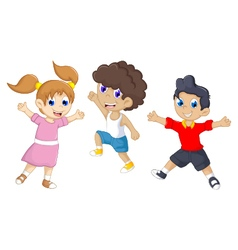 funny tree children cartoon jumping vector image