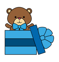 Gift with cute little bear teddy and bowtie vector