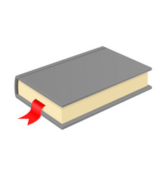 Gray book with bookmark vector