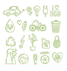 Green energy doodle clean environment global vector