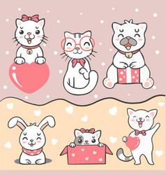 Group cute kawaii cat rabbit and dog vector