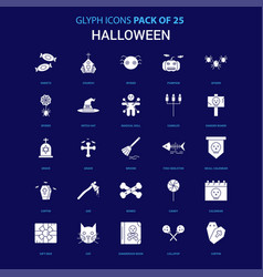 Halloween white icon over blue background 25 icon vector