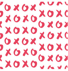 hand drawn seamless pattern with xoxo vector image