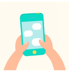 Hands holding smartphone and messaging vector image