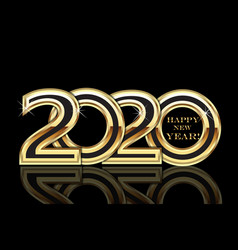 Happy 2020 new year gold party card image vector