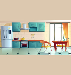 home kitchen empty interior with appliances vector image