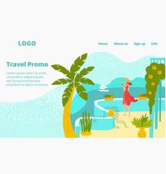 Hot tour travel for vacation at summer woman at vector