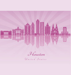 houston v2 skyline in purple radiant orchid vector image