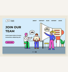 join our team team leader with workers website vector image